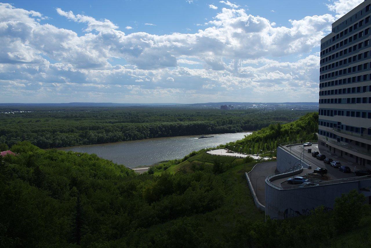 広大な森が広がるベラヤ川の風景