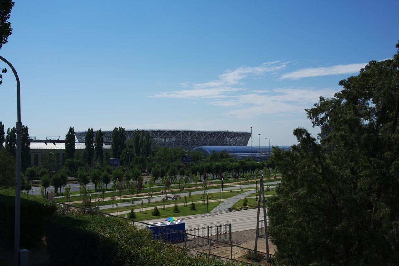後ろを振り返ると今日の試合会場のヴォルゴグラードアリーナがすぐ近くにあります