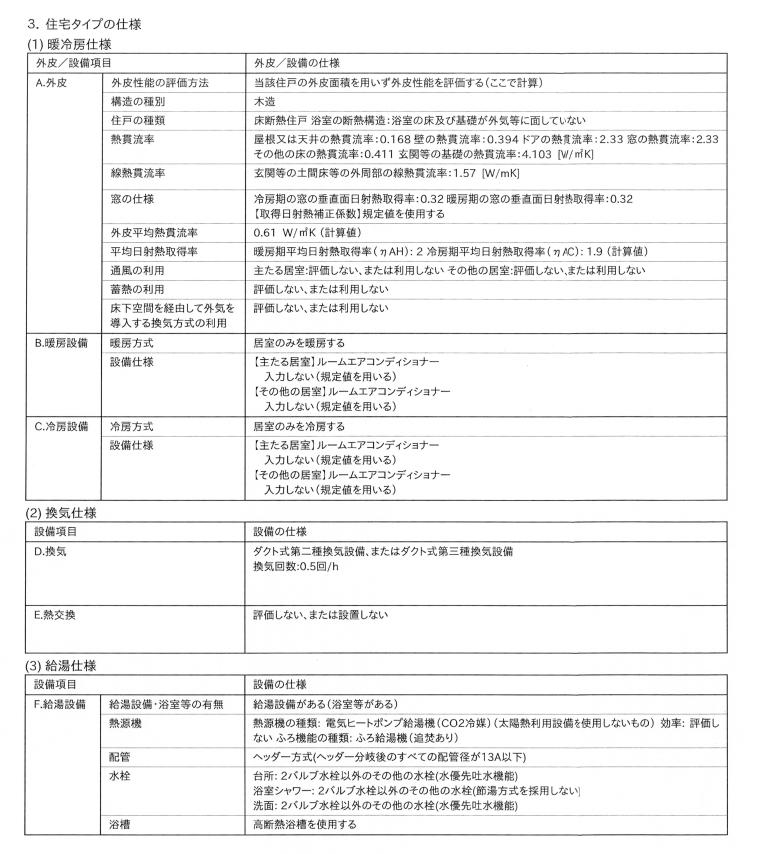 省エネ基準への適合性に関する説明書(3ページ目)