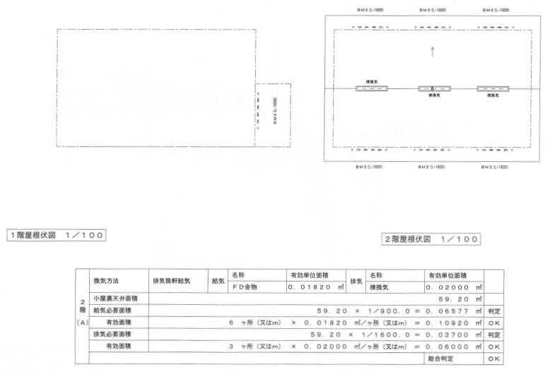 屋根伏図、小屋裏換気計画表