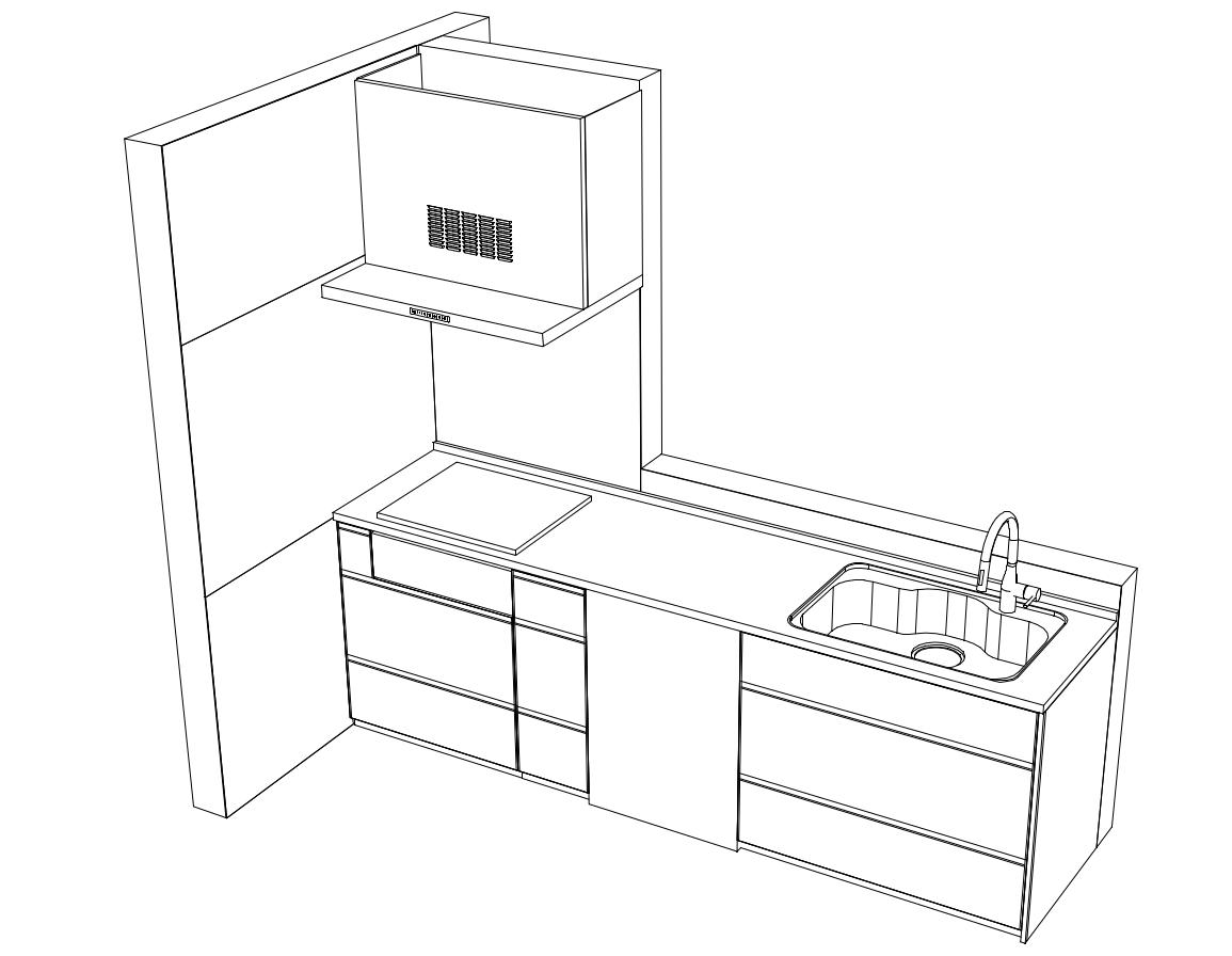 グランディアの設置イメージ(幅2,700mm、高さ900mm)